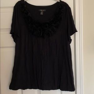 Style & Co Black Flower Top Size XL